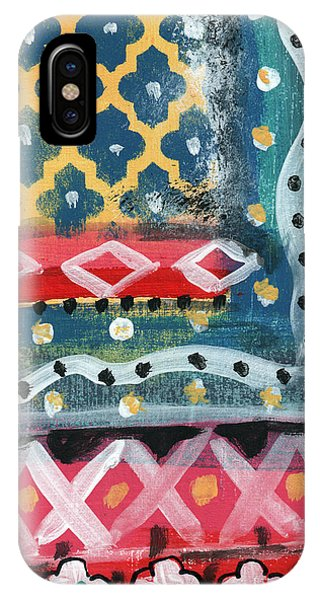Pattern iPhone Case - Fiesta 4- Colorful Pattern Painting by Linda Woods