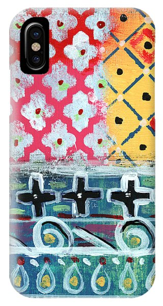 Cross iPhone Case - Fiesta 6- Colorful Pattern Painting by Linda Woods