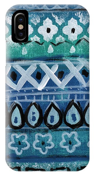 Pattern iPhone Case - Fiesta In Blue- Colorful Pattern Painting by Linda Woods