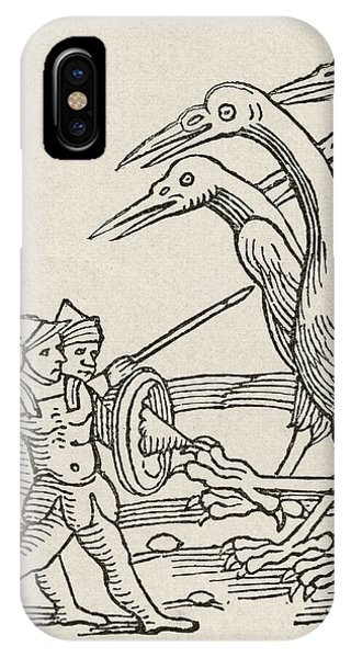 Fight Between Pygmies And Cranes. A Story From Greek Mythology IPhone Case