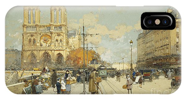 Figures On A Sunny Parisian Street Notre Dame At Left IPhone Case