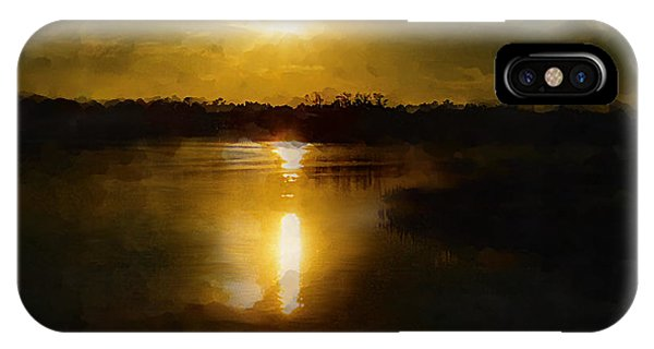 Fine Art Digital Painting Sunset Weeki Wachee Florida IPhone Case