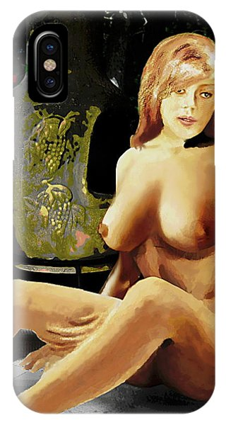Fine Art Female Nude Jess Sitting On The Patio IPhone Case