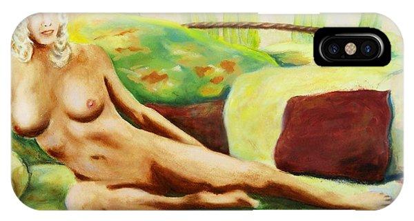 Fine Art Female Nude Sitting Brigit Original Painting IPhone Case