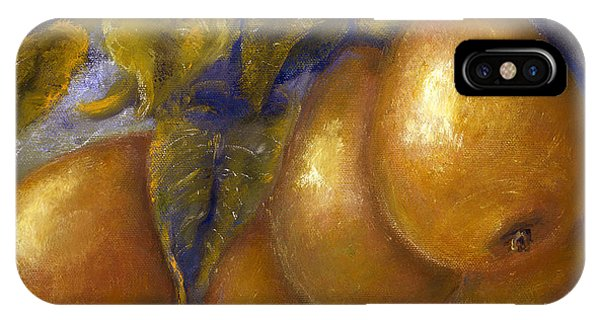 Fine Art Golden Pears With Blue And Green IPhone Case