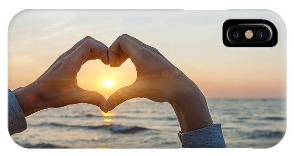 Sunrise iPhone Case - Fingers Heart Framing Ocean Sunset by Elena Elisseeva