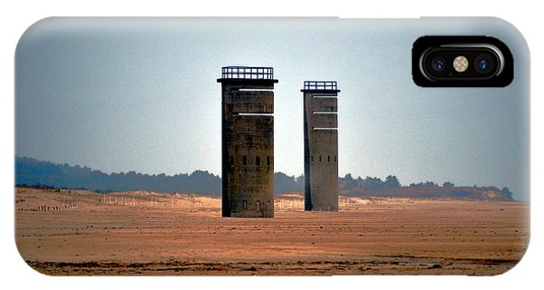 Fct5 And Fct6 Fire Control Towers On The Beach IPhone Case