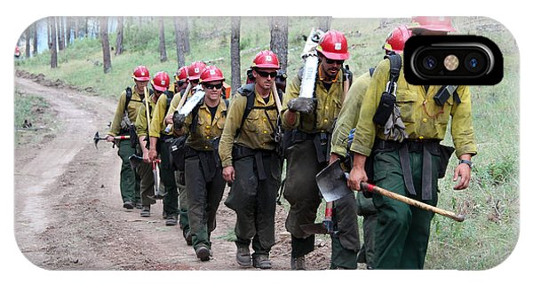 Fire Crew Walks To Their Assignment On Myrtle Fire IPhone Case