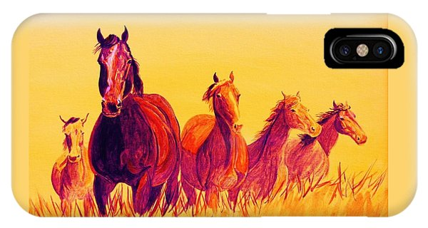 iPhone Case - Fire Horses by Cynthia Sampson