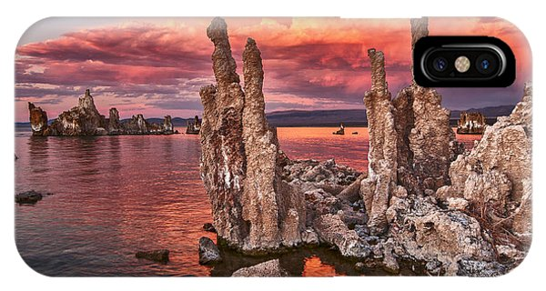 Strange iPhone Case - Fire In The Sky - Sunset View Of The Strange Tufa Towers Of Mono Lake. by Jamie Pham