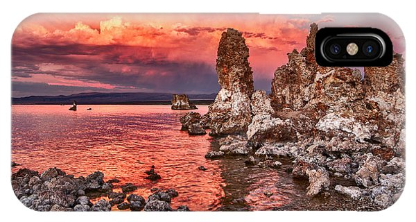 Strange iPhone Case - Fire - Sunset View Of The Strange Tufa Towers Of Mono Lake And Moonrise In California. by Jamie Pham