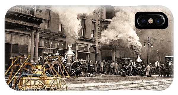 Fire Truck In New York 1890 Collage IPhone Case
