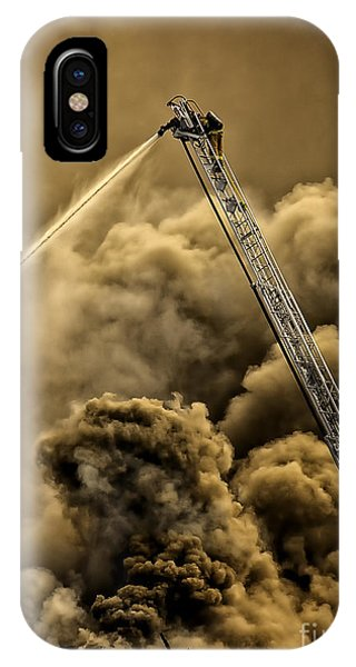 IPhone Case featuring the photograph Firefighter-heat Of The Battle by David Millenheft