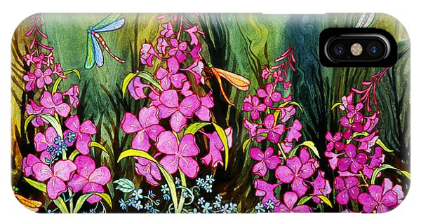 Fireweed And Dragonflies IPhone Case