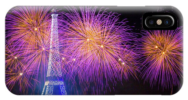 Explosion iPhone X Case - Fireworks At The Eiffel Tower For The 14 July Celebration by Laurent Lothare Dambreville