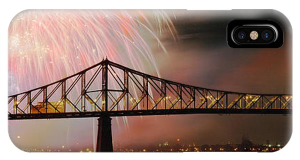 Quebec City iPhone Case - Fireworks Over The Jacques Cartier by Panoramic Images