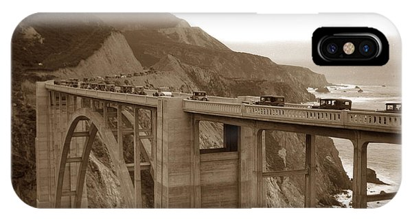 First Cars Across Bixby Creek  Bridge Big Sur California  Nov. 1932 IPhone Case