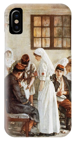 20th Century Man iPhone Case - First Wordl War. Nurses With Wounded Soldiers. Poitiers by Bridgeman Images