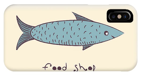 Sign iPhone Case - Fish A Freehand Drawing  Logo Store Food by Natali Li