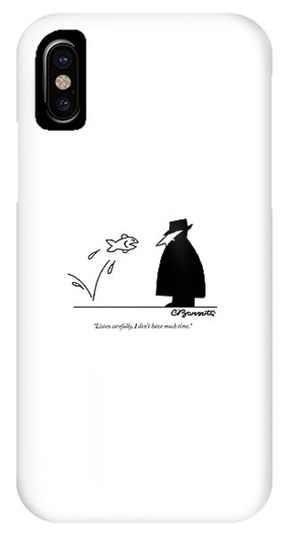 Coat iPhone Case - Fish Informant Jumps Toward Man In Trench Coat by Charles Barsotti