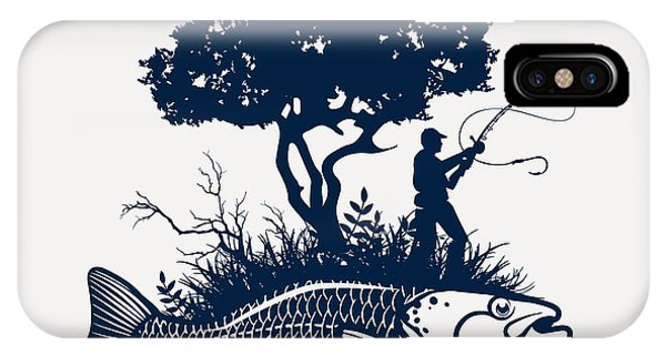 Fish Island With Fisherman And Tree Phone Case by Moloko88
