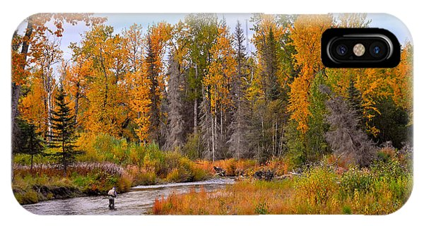 Fisherman In Alaska In Autumn IPhone Case