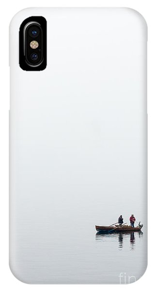 Powerboat iPhone Case - Fisherman In The Early Morning Mist by Peter Noyce