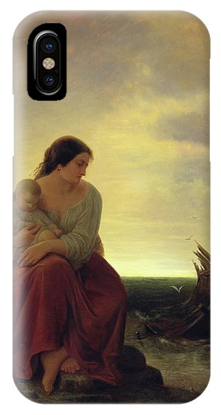 Drown iPhone Case - Fishermans Wife Mourning On The Beach Oil On Canvas by Julius Muhr