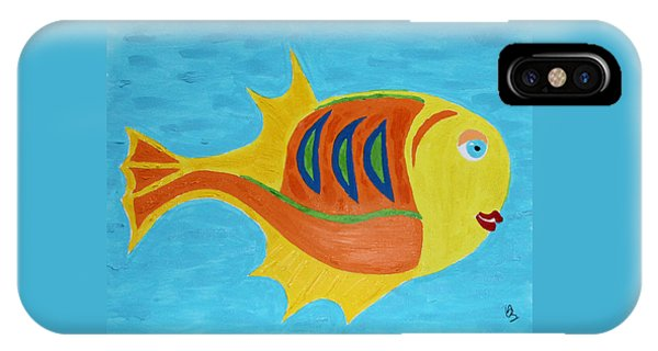 IPhone Case featuring the mixed media Fishie by Deborah Boyd