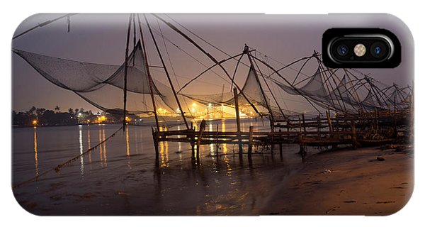 Kerala iPhone Case - Fishing Boat And Crane At Cochin by David H. Wells