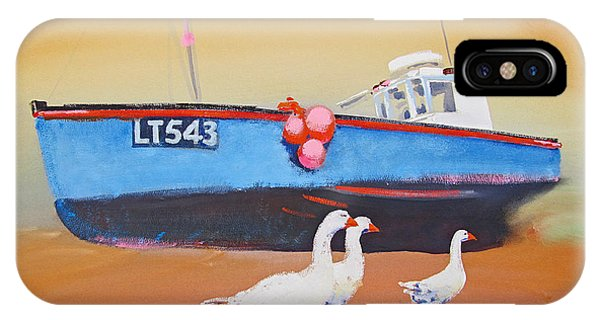 Fishing Boat Walberswick With Geese IPhone Case
