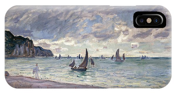 Fishing Boats In Front Of The Beach And Cliffs Of Pourville IPhone Case