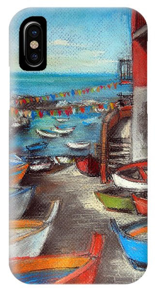 Fishing Boat iPhone Case - Fishing Boats In Riomaggiore by Mona Edulesco