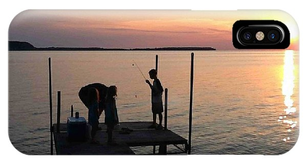Fishing From The Dock In The Sunset IPhone Case
