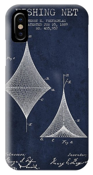 Fishing Net Patent From 1889- Navy Blue IPhone Case