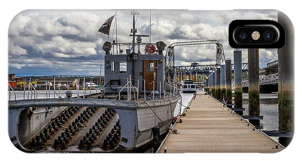 Fishing Vessel Tied Up At The Pier IPhone Case