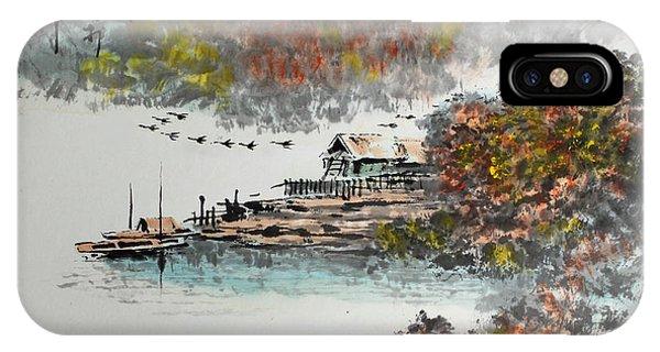 Fishing Village In Autumn IPhone Case