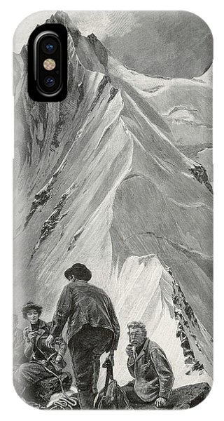 Five Climbers Contemplate The  Daunting Phone Case by Mary Evans Picture Library
