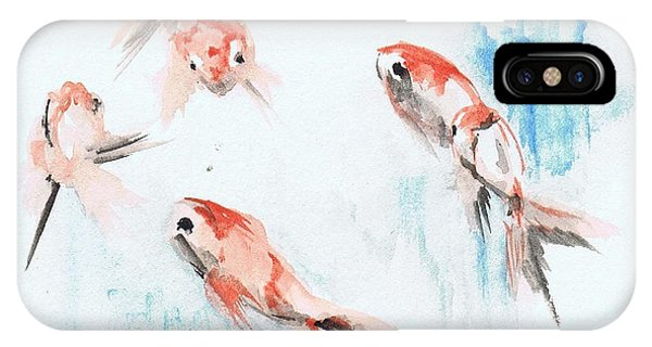 IPhone Case featuring the painting Five Goldfish by Lauren Heller