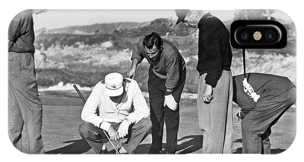 Golf iPhone Case - Five Golfers Looking At A Ball by Underwood Archives