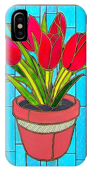 Five Red Tulips IPhone Case