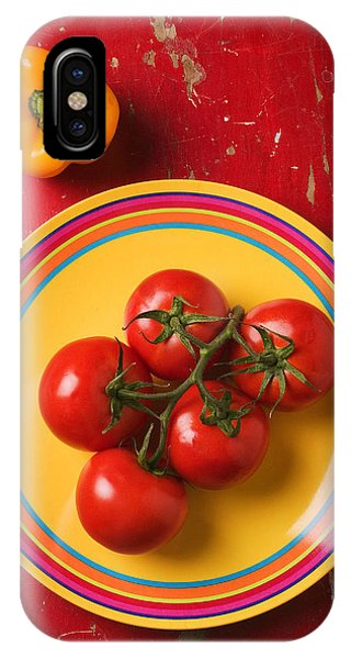Five Tomatoes On Plate IPhone Case