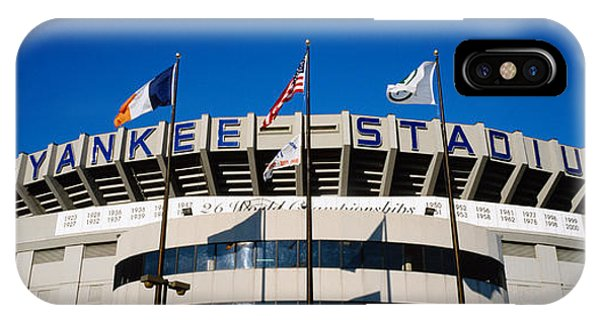 Yankee Stadium iPhone Case - Flags In Front Of A Stadium, Yankee by Panoramic Images