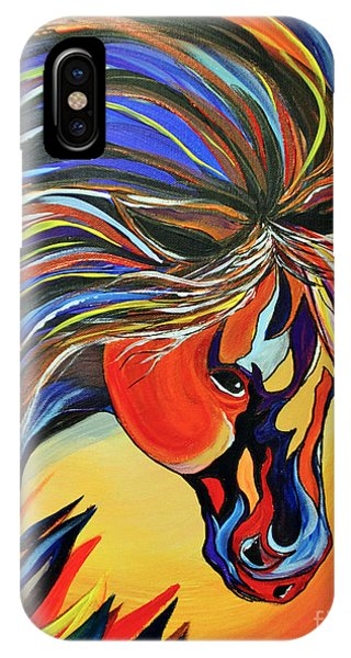 Flame Bold And Colorful War Horse IPhone Case