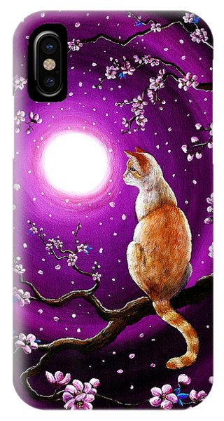 Violet Flame iPhone Case - Flame Point Siamese Cat In Dancing Cherry Blossoms by Laura Iverson