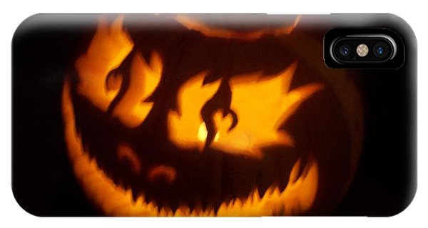 Flame Pumpkin Side IPhone Case