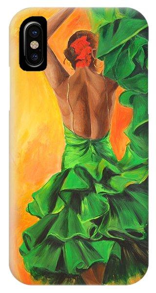 Flamenco Dancer In Green Dress IPhone Case