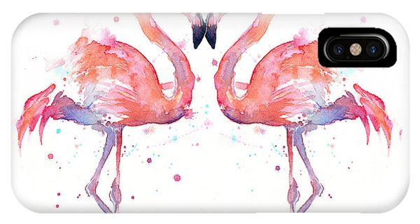 Life iPhone Case - Flamingo Love Watercolor by Olga Shvartsur