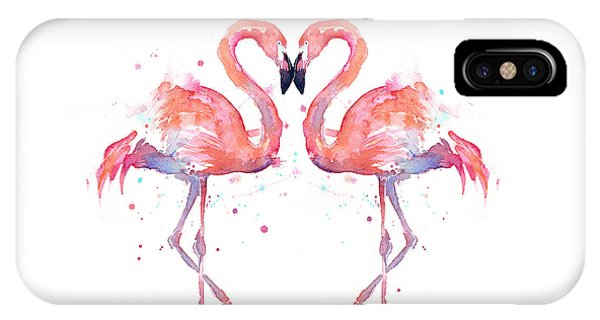 Decor iPhone Case - Flamingo Love Watercolor by Olga Shvartsur