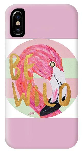 Flamingo On Stripes Round IPhone Case